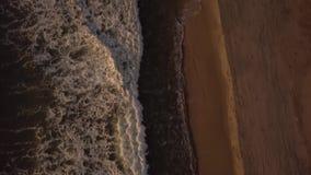 Hommel die boven zeewatergolven vliegen met het witte schuim bespatten op zandige kust Satellietbeeld oceaangolven op avondstrand stock videobeelden