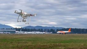 Hommel die in de luchthaven, beperkt gebied vliegen stock foto's
