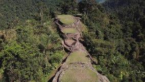 Hommel die over de oude plaats Verloren Stad in Colombia vliegen die sommige toeristen tonen stock videobeelden