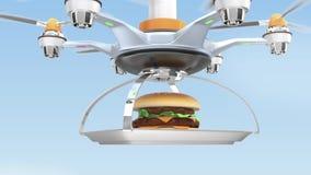 Hommel dragende hamburger voor het concept van de snel voedsellevering vector illustratie