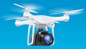 Hommel met camera in de blauwe hemel, het 3D teruggeven Stock Fotografie