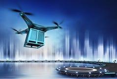 Hommel met metaalcontainer bij vlucht over helihaven Stock Foto