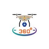 Hommel quadrocopter met illustratie van het het pictogram vector, stevige die embleem van de 360 graad de panoramische camera, pi Royalty-vrije Stock Fotografie