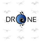 Hommel Vliegende Lucht Quadrocopter Logo Icon Stock Afbeelding