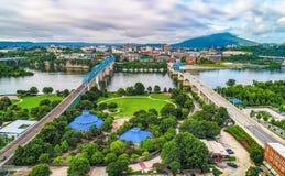 Hommelantenne van Horizon de Van de binnenstad van Chattanooga Tennessee TN stock foto
