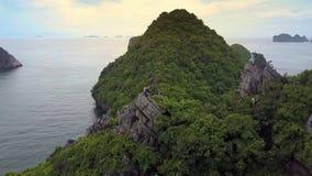 Hommelbewegingen aan Gelukkige Toeristen op Groot Steil Rocky Hill Top stock video