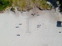 Hommelfoto van Barra da Tijuca-het hof van het strandvolleyball, Rio de Janeiro, Brazilië Royalty-vrije Stock Foto's