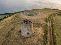 Hommelmening van het typische landschap van de Azoren kust met koeien in een landelijk satellietbeeld De mening van het vogeloog, stock fotografie
