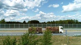 Hommelmening van vrachtwagen met logboekstapel stock footage