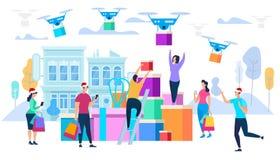 Hommels Carry Purchases aan Consumenten Geïsoleerd op witte achtergrond royalty-vrije illustratie