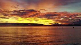 Hommelvlucht bij zonsondergang boven het overzees stock video