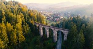 Hommelvlucht over mistige vallei tijdens zonsopgang stock videobeelden
