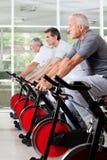 Hommes aînés sur les vélos de rotation en gymnastique Photos stock