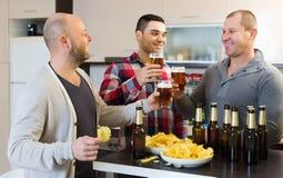 Hommes adultes détendant avec de la bière Photo libre de droits