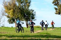 Hommes adultes rriding des bicyclettes Photos stock