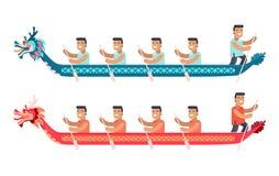 Hommes asiatiques dans de longs bateaux dans la forme de Dragon Set illustration libre de droits