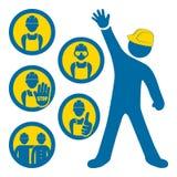 Hommes aux icônes de travail Image libre de droits