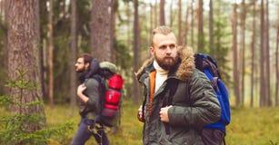 Hommes avec des sacs à dos et barbes augmentant dans la forêt Image stock