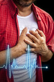 Hommes avec douleur thoracique - crise cardiaque Photos libres de droits