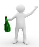 Hommes avec la bouteille sur le fond blanc illustration libre de droits