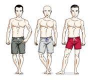 Hommes beaux posant dans des shorts colorés de plage Positionnement du travail du vecteur characters Photos libres de droits
