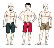Hommes beaux posant dans des shorts colorés de plage Positionnement du travail du vecteur characters Photographie stock