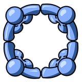 Hommes bleus joints en cercle Images libres de droits