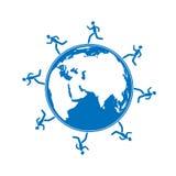 Hommes courant autour du globe Photos libres de droits