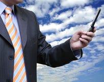 Hommes d'affaires appelle un associé Image libre de droits