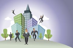Hommes d'affaires au-dessus de ville Images libres de droits