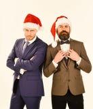 Hommes d'affaires avec l'équipe actuelle de visages sûrs Les collègues avec des barbes sont prêts pour Noël Partie d'entreprise d photos libres de droits