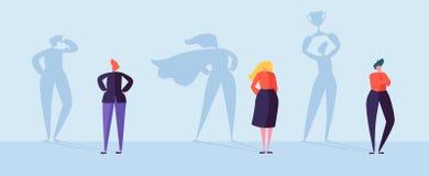 Hommes d'affaires avec l'ombre de gagnant Mâle et personnages féminins avec des silhouettes de la direction, motivation d'accompl illustration stock