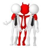 Hommes d'affaires ayant l'affaire avec le diable Images stock