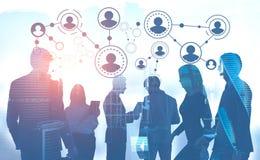Hommes d'affaires dans la ville, réseau illustration de vecteur