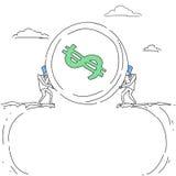 Hommes d'affaires donnant la pièce de monnaie au-dessus du griffonnage de concept de coopération de Cliff Gap Partners Teamwork F Images libres de droits