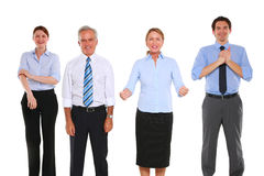 Hommes d'affaires et femmes d'affaires exultant Photographie stock