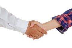 Hommes d'affaires et travailleur se serrant la main, d'isolement sur le blanc Photographie stock libre de droits