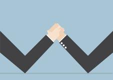Hommes d'affaires faisant le bras de fer, conflit d'affaires, riv d'affaires illustration de vecteur