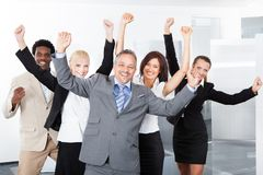 Hommes d'affaires multiraciaux heureux Photo libre de droits