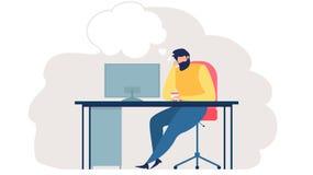 Hommes d'affaires pensant au vecteur plat de nouvelles idées illustration stock