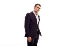 Hommes d'affaires souriant sur le blanc Photos libres de droits