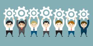 Hommes d'affaires supportant les vitesses blanches Connexion, communication Co illustration libre de droits