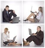 Hommes d'affaires sur le réseau local sans fil Photo stock