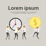 Hommes d'affaires Team Hold Clock Coin illustration stock