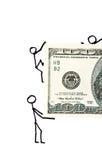Hommes d'affaires tirés avec de l'argent Image stock