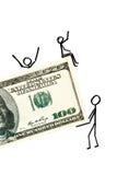 Hommes d'affaires tirés avec de l'argent Image libre de droits
