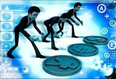 hommes 3d avec l'illustration de signe d'euro et de Yens du dollar Image libre de droits