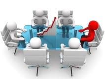 hommes 3D s'asseyant à une table et ayant la réunion d'affaires Image libre de droits