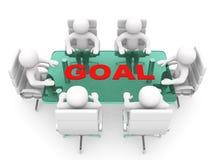 hommes 3D s'asseyant à une table et ayant la réunion d'affaires - rende 3d Photographie stock libre de droits