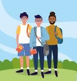 Hommes d'université avec des sacs à dos et des livres d'études illustration stock